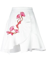 Carven Embroidered Wrap Skirt White