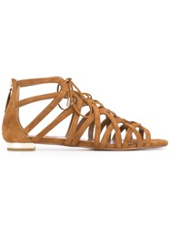 Aquazzura Ivy Flat Sandals Women Leather Suede 36 Brown