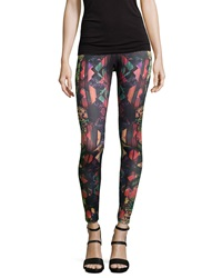 Romeo And Juliet Couture Mixed Floral Print Scuba Leggings Red Multi