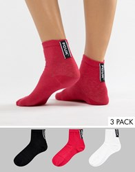 French Connection Fcuk Sock 3 Pack Black W.White M.Pink