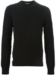 Dolce And Gabbana Cable Knit Sweater Black