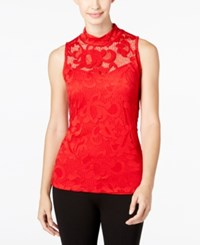 Inc International Concepts Lace Mock Neck Tank Top Only At Macy's Real Red