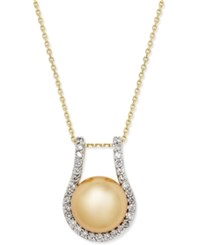 Macy's Cultured Golden South Sea Pearl 12Mm And Diamond 5 8 Ct. T.W. Pendant Necklace In 14K Gold
