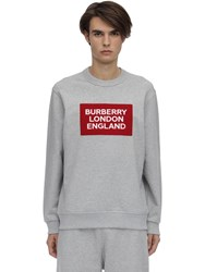 Burberry Logo Patch Cotton Jersey Sweatshirt Heather Grey