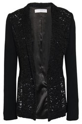 Galvan London Woman Cotton Blend Corded Lace And Crepe Jacket Black