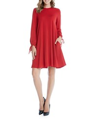 Karen Kane Crewneck Tie Sleeve Dress Red