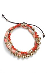 Treasure And Bond Semiprecious Stone Beaded Bracelet Coral Gold