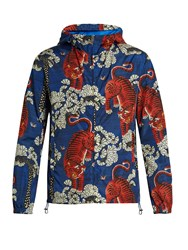 Gucci Tiger Print Hooded Jacket Blue Multi