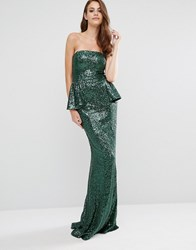 City Goddess Bandeau Sequin Peplum Maxi Dress Green