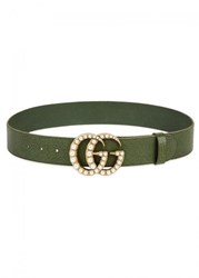 Gucci Green Faux Pearl Embellished Leather Belt