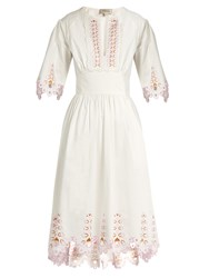 Temperley London Amour Broderie Anglaise Cotton Poplin Dress White