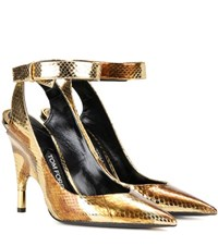 Tom Ford Metallic Snakeskin Pumps Gold