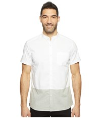 Kenneth Cole Short Sleeve Color Block Shirt White Combo Men's Clothing