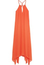 Alice Olivia Jaelyn Crepon Halterneck Maxi Dress Bright Orange