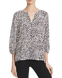 Joie Addie B Animal Print Silk Blouse Porcelain