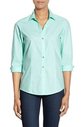 Petite Women's Foxcroft Three Quarter Sleeve Non Iron Cotton Shirt Beach Glass