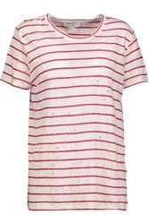 Iro Mina Distressed Striped Linen T Shirt Red