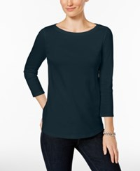 Charter Club Boat Neck Shoulder Button Top Only At Macy's Intrepid Blue
