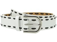 Michael Michael Kors 32Mm Smooth Leather Panel Belt With Lacing White Women's Belts