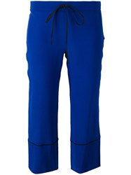 L'autre Chose Piped Trim Cropped Trousers Blue