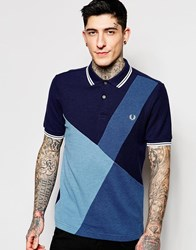 Fred Perry Polo Shirt With Color Block Panel Slim Fit Blue Marl