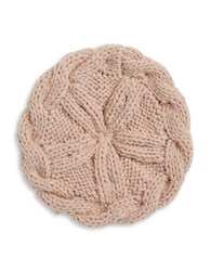 Collection 18 Cableknit And Ball Trimmed Knit Beret Pink
