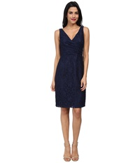 Donna Morgan Lulu V Neck Lace Dress Indigo Women's Dress Blue