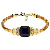 Monet Glass Stone Mesh Bracelet Gold Indigo
