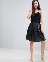 Lavand Perforated Faux Leather Skirt Black