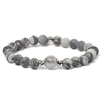 Tateossian Stonehenge Spiderweb Jasper Bead And Sterling Silver Bracelet Gray