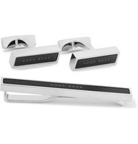 Hugo Boss Silver Tone And Enamel Cufflinks And Tie Clip Set