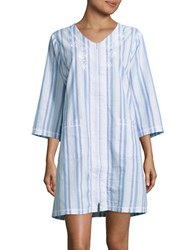 Miss Elaine Seersucker Striped Night Gown Blue Pink