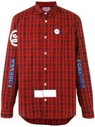 Sold Out Frvr Printed Checked Shirt Men Cotton Spandex Elastane L Red