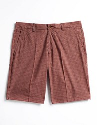 Alex Cannon Mini Check Flat Front Cotton Shorts Rust