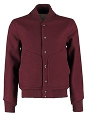 G Star Gstar Mn Wool Bomber Light Jacket Deep Burgundy Dark Red