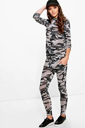Boohoo Camo Knitted Lounge Set Multi