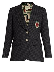 Gucci Heart Applique Polka Dot Wool Blend Blazer Navy Multi