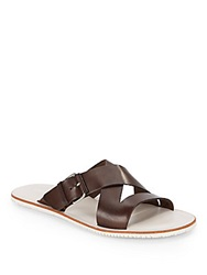Saks Fifth Avenue Made In Italy Criss Cross Leather Slide Sandals