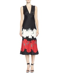 Alexander Mcqueen Lotus Flower Print Satin Midi Dress Black Red White