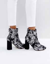 New Look Floral Sequin Embellished Heeled Ankle Boot Grey