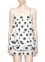Nicholas Polka Dot Print Cotton Linen Camisole Black White