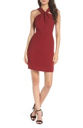 19 Cooper Lace Back Halter Sheath Dress Wine