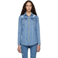 Balmain Blue Denim Ripped Shirt