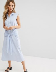 Mango Tie Front Stripe Midi Shirt Dress Multi
