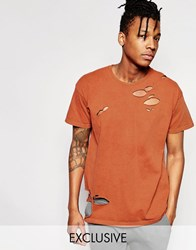 Reclaimed Vintage Oversized T Shirt With Distressing Rust Brown