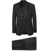 Hugo Boss Black Hanfrey Slim Fit Silk Trimmed Super 120S Virgin Wool Tuxedo Black