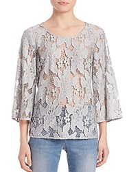 Set Three Quarter Sleeve Lace Blouse Pearl Blue