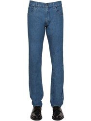 Prada 19Cm Tapered Cotton Denim Jeans Blue