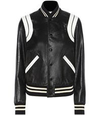 Saint Laurent Leather Bomber Jacket Black