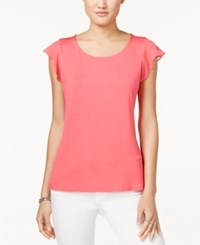Maison Jules Scoop Neck Flutter Sleeve Top Only At Macy's Diva Pink